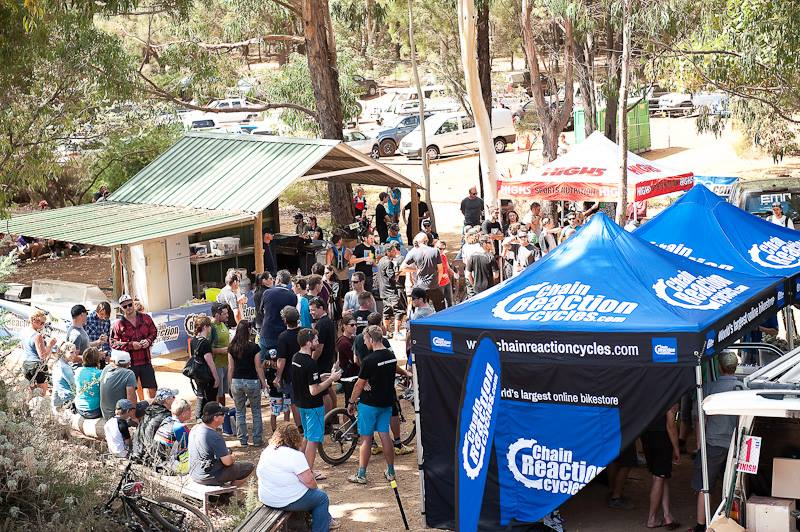 Just half of the bustling race village post race. Good times being had. _pic: Matthew Farrell