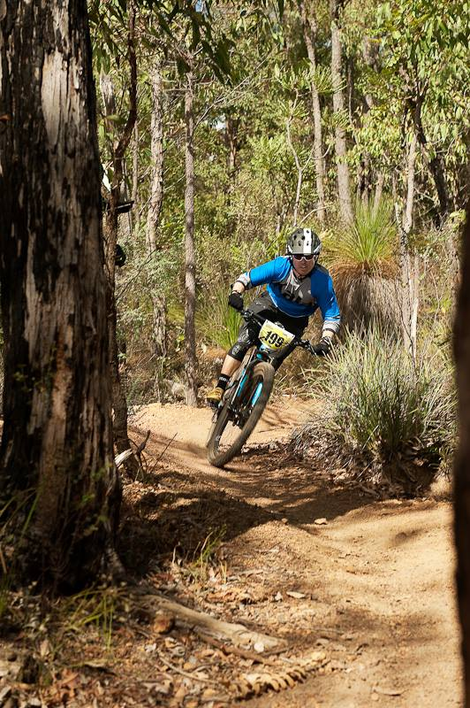 Kalamunda Cycles owner and absolute legend Tim Bennet on the gas, finishing 3rd in elite. _pic: Matthew Farrell
